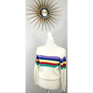 Vintage 80's Barry & Me Off White Rainbow Sweater